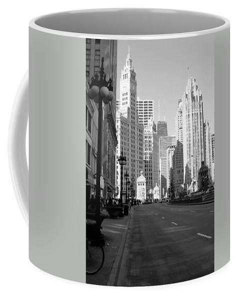 Chicago Coffee Mug featuring the photograph Michigan Ave Tall B-w by Anita Burgermeister