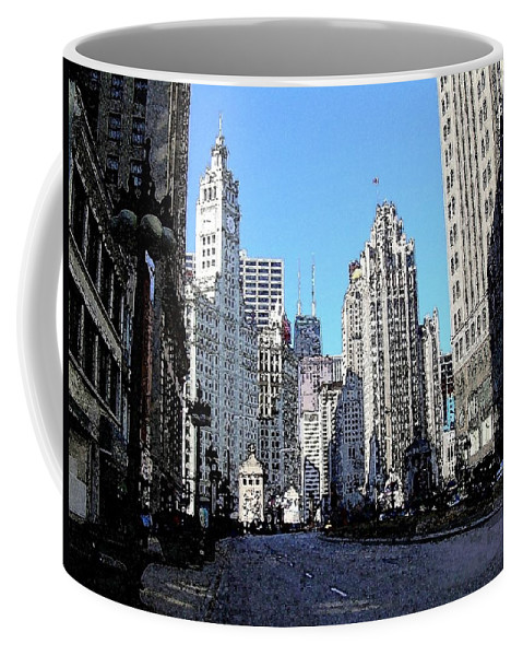 Chicago Coffee Mug featuring the digital art Michigan Ave wide by Anita Burgermeister