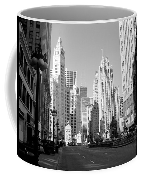 Chicago Coffee Mug featuring the photograph Michigan Ave Wide B-w by Anita Burgermeister