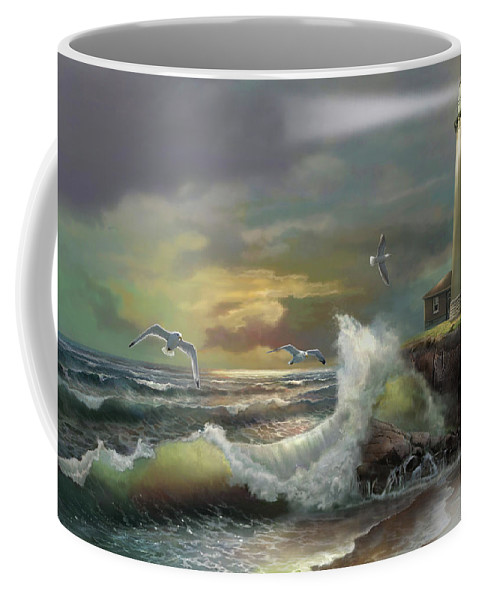 Michigan Seul Choix Point Lighthouse Art Print Coffee Mug featuring the painting Michigan Seul Choix Point Lighthouse With An Angry Sea by Regina Femrite