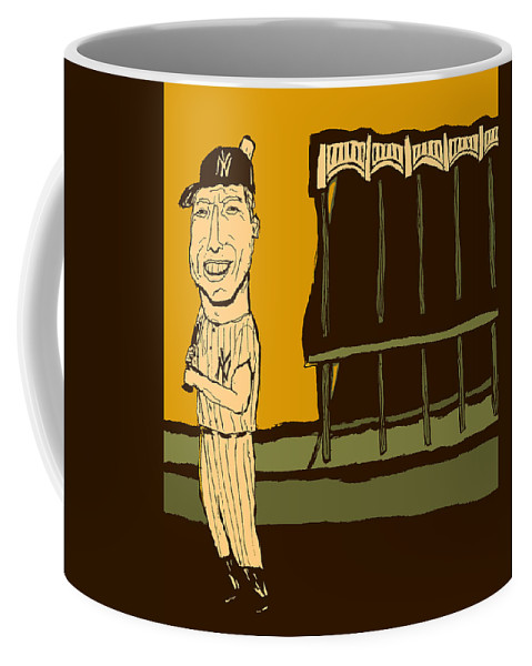 Mickey Mantle Coffee Mug featuring the mixed media Mickey Mantle Yankee Stadium by Jay Perkins