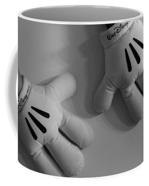 Black And White Coffee Mug featuring the photograph Mickeys Hands by Rob Hans