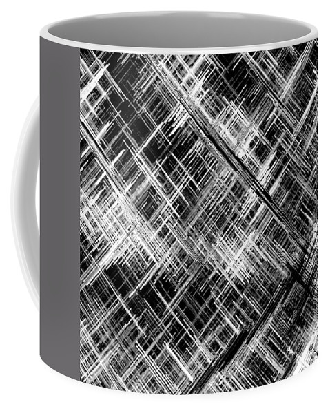Black And White Coffee Mug featuring the digital art Micro Linear Black And White by Will Borden