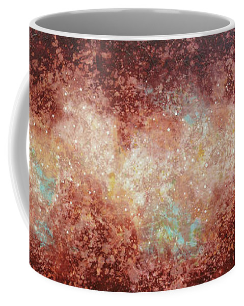 Large Abstract Coffee Mug featuring the painting Microcosm by Jaison Cianelli