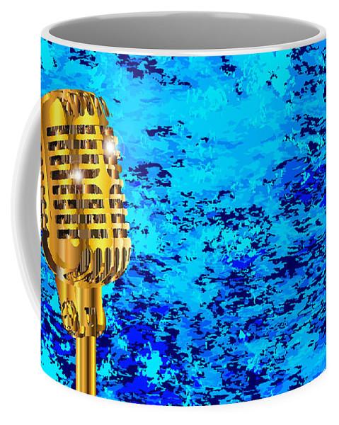 Microphone Coffee Mug featuring the digital art Microphone On Blues Fire by Bigalbaloo Stock