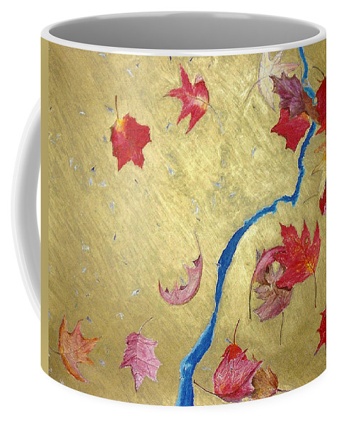 Abstract Coffee Mug featuring the painting Midas Fall by Steve Karol