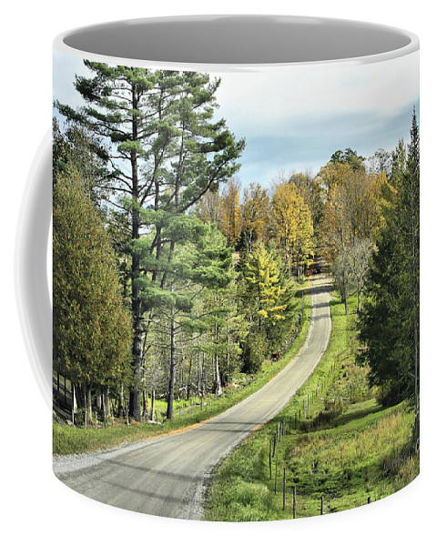 Landscape Coffee Mug featuring the photograph Middle Road In Autumn by Deborah Benoit