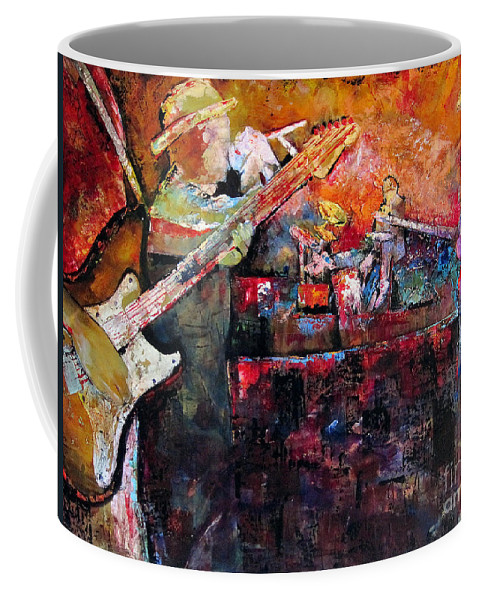 Guitar Coffee Mug featuring the painting Midnight Ensemble by Shadia Derbyshire