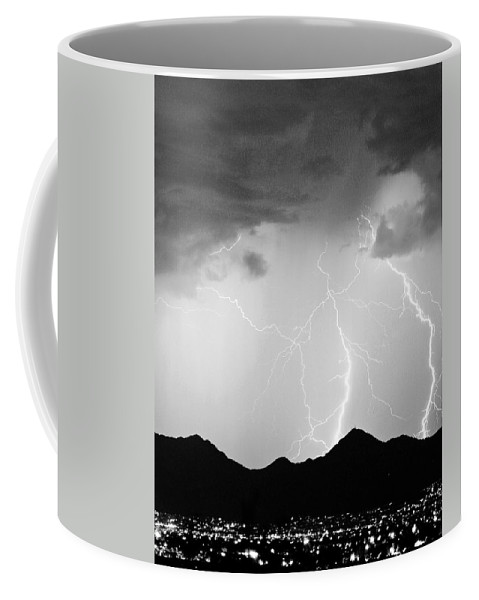 Lightning Coffee Mug featuring the photograph Midnight Hour Black And White by James BO Insogna