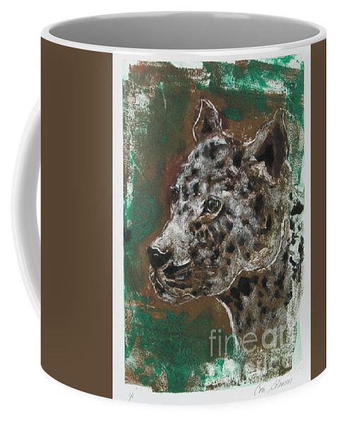 Monotype Coffee Mug featuring the mixed media Midnight Prowler by Cori Solomon