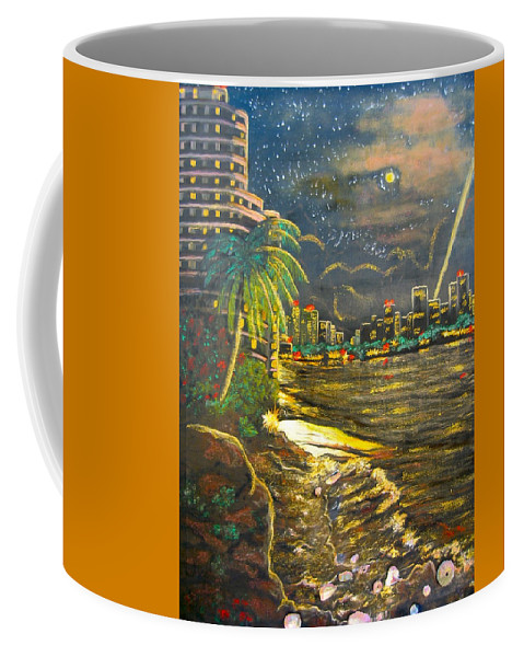 City Lights Coffee Mug featuring the painting Midnight Sun by V Boge