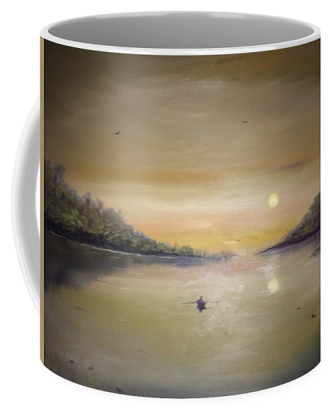 Beautiful Oil Painting Of Lake In The Heart Of England On A Serene Spring Evening Coffee Mug featuring the painting Midnight Trip by Dan Storey
