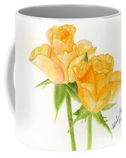 Orange Roses Coffee Mug featuring the painting Midsummer Roses by Alexis Grone