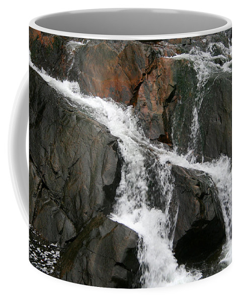 Water Waterfall Rush Rushing Cold River Creek Stream Rock Stone Wave White Wet Coffee Mug featuring the photograph Might by Andrei Shliakhau