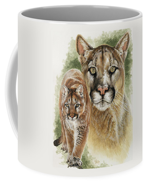 Cougar Coffee Mug featuring the mixed media Mighty by Barbara Keith