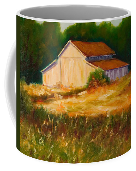 Barn Coffee Mug featuring the painting Mike's Barn by Shannon Grissom
