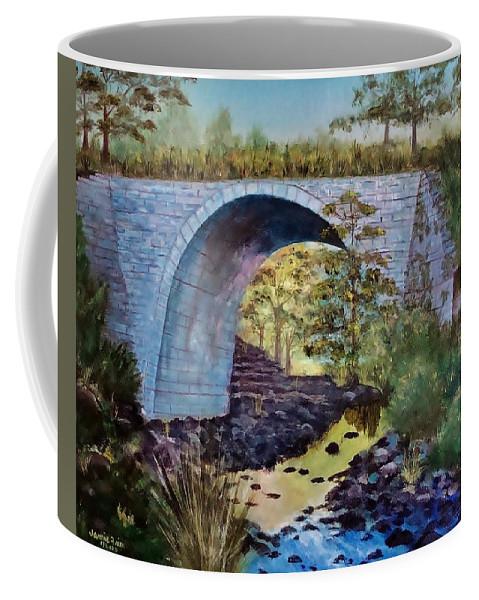 Keystone Coffee Mug featuring the painting Mike's Keystone Bridge by Jamie Frier