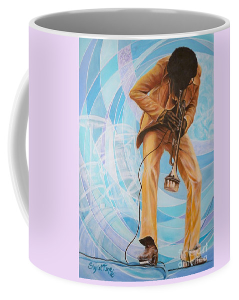 Musician Coffee Mug featuring the painting   Miles Davis In A Yellow Suit by Sigrid Tune