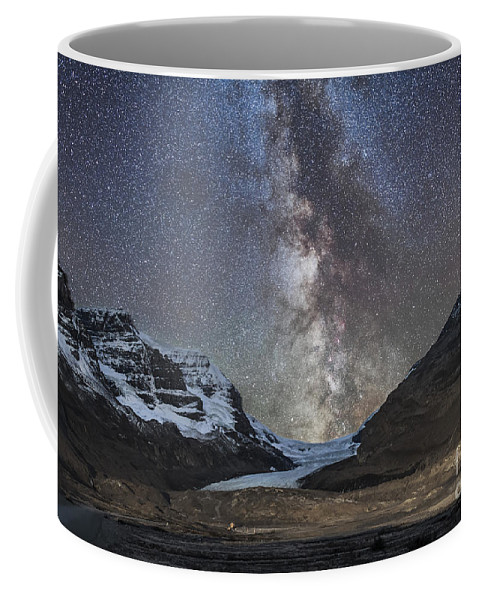 Athabasca Glacier Coffee Mug featuring the photograph Milky Way Over Athabasca Glacier by Alan Dyer