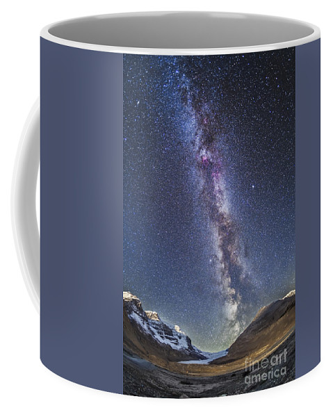 Athabasca Glacier Coffee Mug featuring the photograph Milky Way Over The Columbia Icefields by Alan Dyer