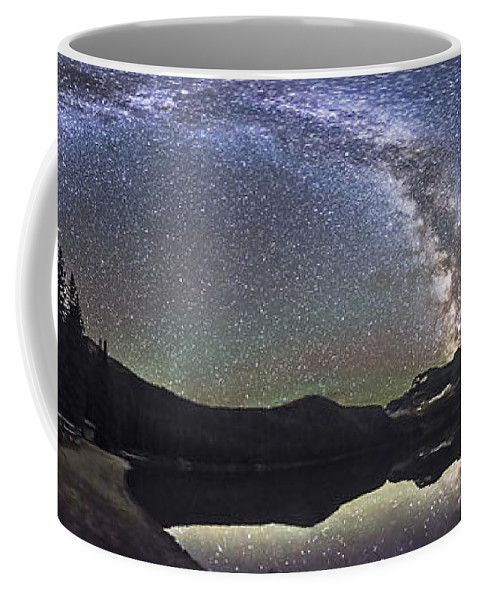 Alberta Coffee Mug featuring the photograph Milky Way Panorama At Cameron Lake by Alan Dyer