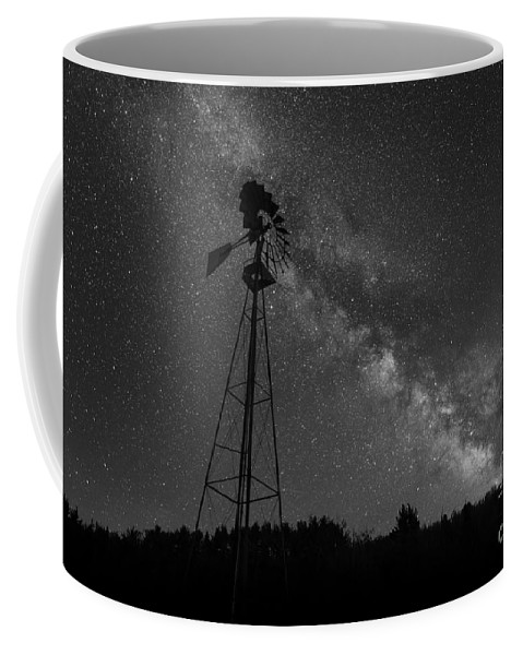 The Explorer Coffee Mug featuring the photograph Milky Way Windmill Bw by Michael Ver Sprill