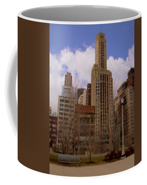 Chicago Coffee Mug featuring the digital art Millenium Park And Bench 1 by Anita Burgermeister