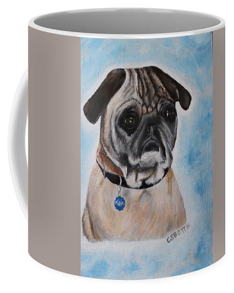 Pug Coffee Mug featuring the painting Millie The Pug 2016 by Candy Bott