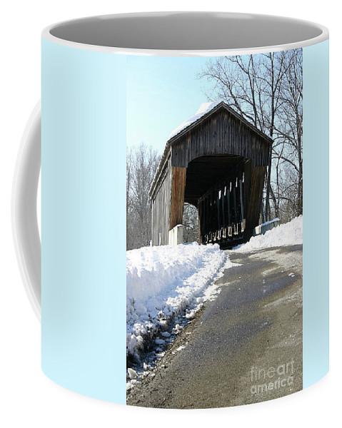 Columbus Coffee Mug featuring the photograph Millrace Park Old Covered Bridge - Columbus Indiana by Scott D Van Osdol