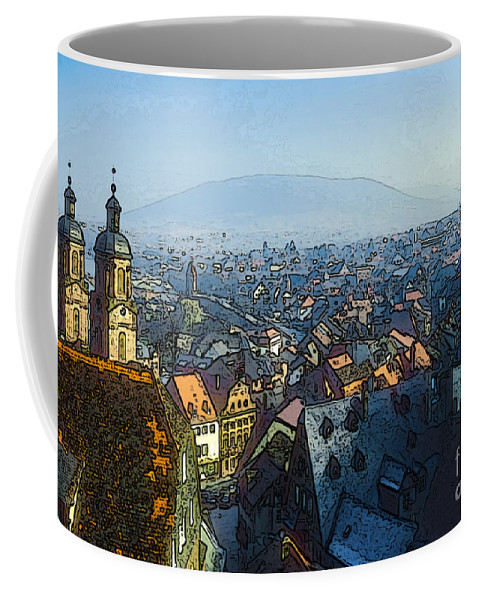 Miltenberg Germany City Cities Cityscape Cityscapes Digital Art Building Buildings Structure Structures Church Churches Steeple Steeples Tower Towers Architecture Place Of Worship Places Of Worship Landscape Landscapes Coffee Mug featuring the photograph Miltenberg 4 by Bob Phillips