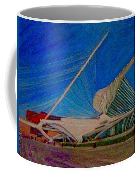 Mam Coffee Mug featuring the mixed media Milwaukee Art Museum by Anita Burgermeister