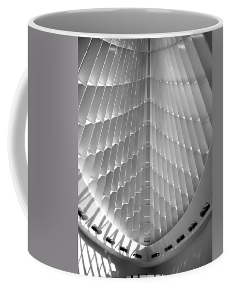 Mam Coffee Mug featuring the photograph Milwaukee Art Museum Interior B-w by Anita Burgermeister