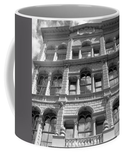 Milwaukee Coffee Mug featuring the photograph Milwaukee Cloud Reflections Bw by Anita Burgermeister