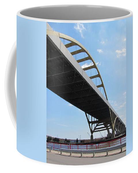 Milwaukee Coffee Mug featuring the photograph Milwaukee Under The Hoan Bridge by Anita Burgermeister