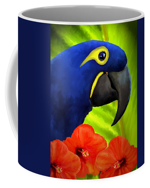 Hyacinth Macaw Coffee Mug featuring the painting Mimi by David Wagner