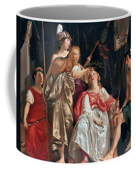 Abraham Van Den Tempel Coffee Mug featuring the painting Minerva Crowns The Maid Of Leiden by Abraham van den Tempel