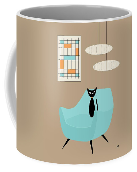 Mid Century Modern Coffee Mug featuring the digital art Mini Abstract With Blue Chair by Donna Mibus