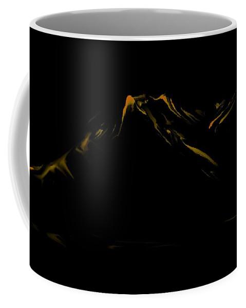 Digital Art Coffee Mug featuring the digital art Minimal Landscape Yellow by David Lane