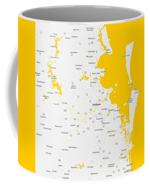 Vector Coffee Mug featuring the painting Minimalist Modern Map Of Brisbane, Australia 5 by Celestial Images