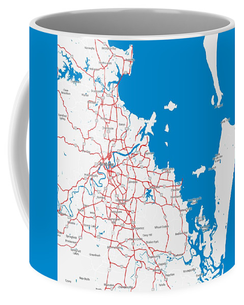 Vector Coffee Mug featuring the painting Minimalist Modern Map Of Brisbane, Australia 6 by Celestial Images
