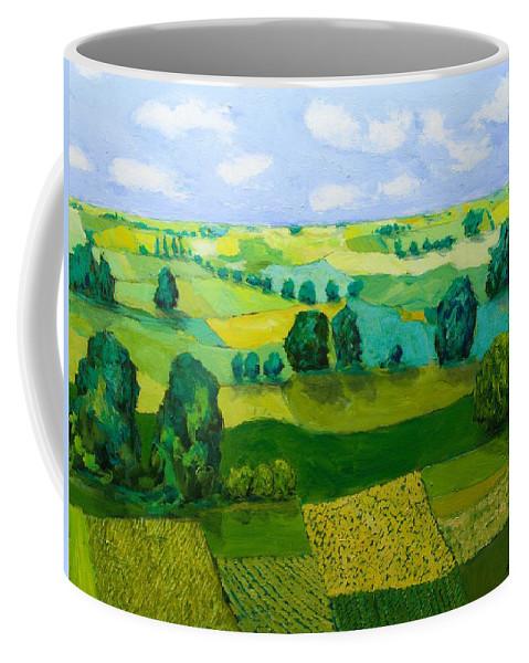 Landscape Coffee Mug featuring the painting Minnesota Fields by Allan P Friedlander