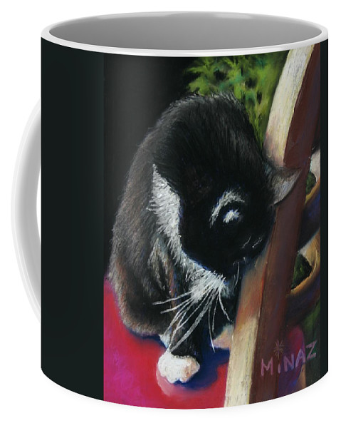 Cat Coffee Mug featuring the painting Kitty Chair by Minaz Jantz