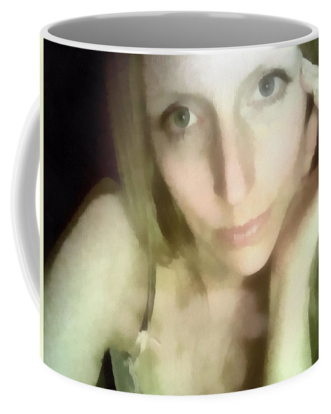 Female Coffee Mug featuring the painting Miriam By Monitors Glow by Jeffrey Kolker