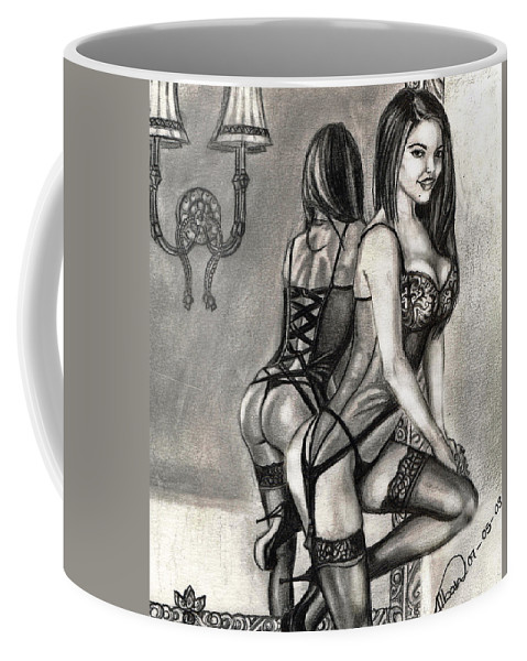 Pencil Dawing Coffee Mug featuring the drawing Mirror Reflection Model by Alban Dizdari