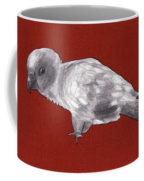 Bird Coffee Mug featuring the mixed media Mischievous Bird by Claire Kemp