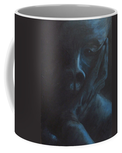 Sad Coffee Mug featuring the painting Misery by Gale Cochran-Smith