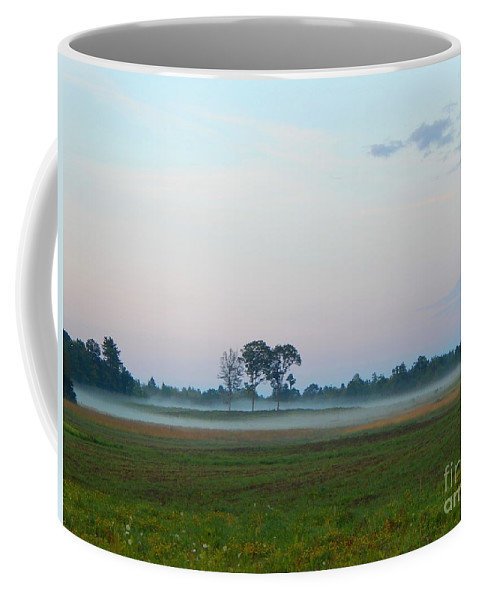 Landscape In Maine Coffee Mug featuring the photograph Pink Sky And Misty Pasturess by Expressionistart studio Priscilla Batzell