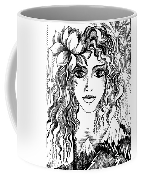 Spring Coffee Mug featuring the drawing Miss Spring by Sofia Metal Queen