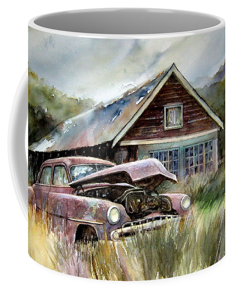 Car House Coffee Mug featuring the painting Miss Wilson's House by Ron Morrison