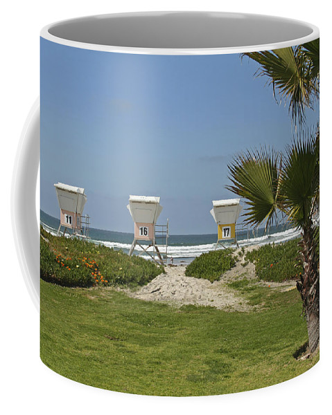 Beach Coffee Mug featuring the photograph Mission Beach Shelters by Margie Wildblood